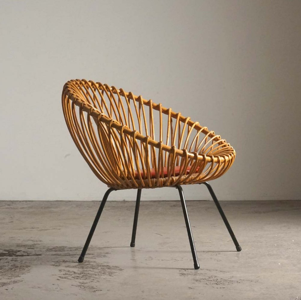 Rare rattan chair by Rohé Noordwolde, 1960s