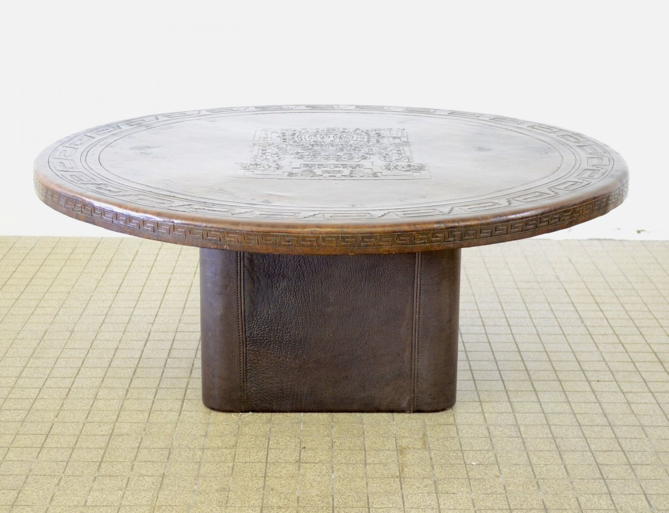 Brutalist Peruvian hand carved leather coffee table, 1960s