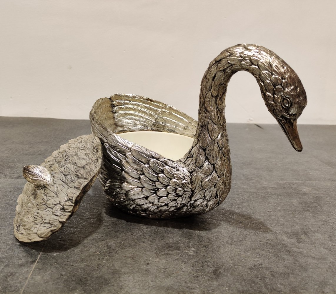 Vintage swan ice bucket by Mauro Manetti, 1970s