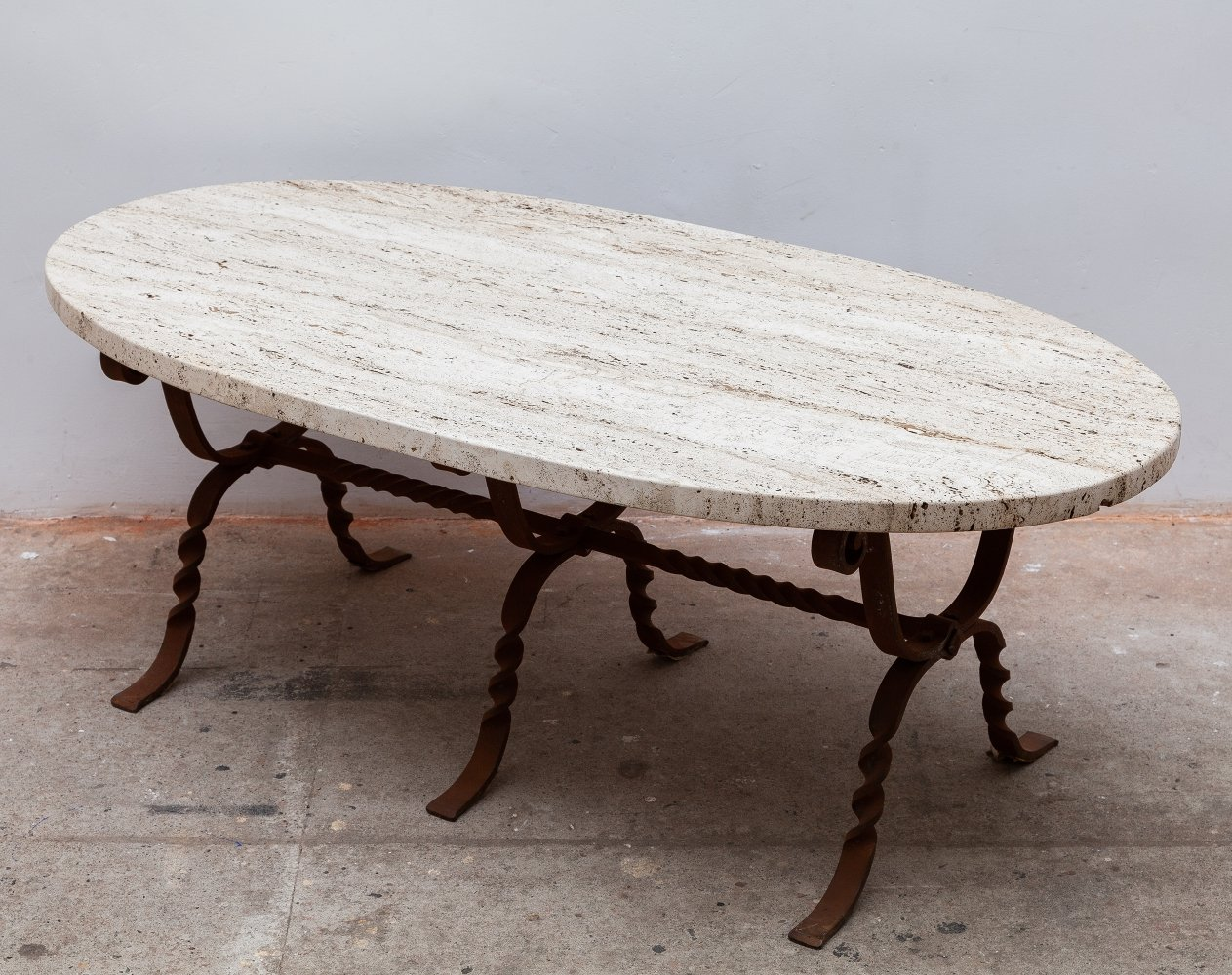 Brutalist Wrought Iron Travertine Oval Top Coffee Table