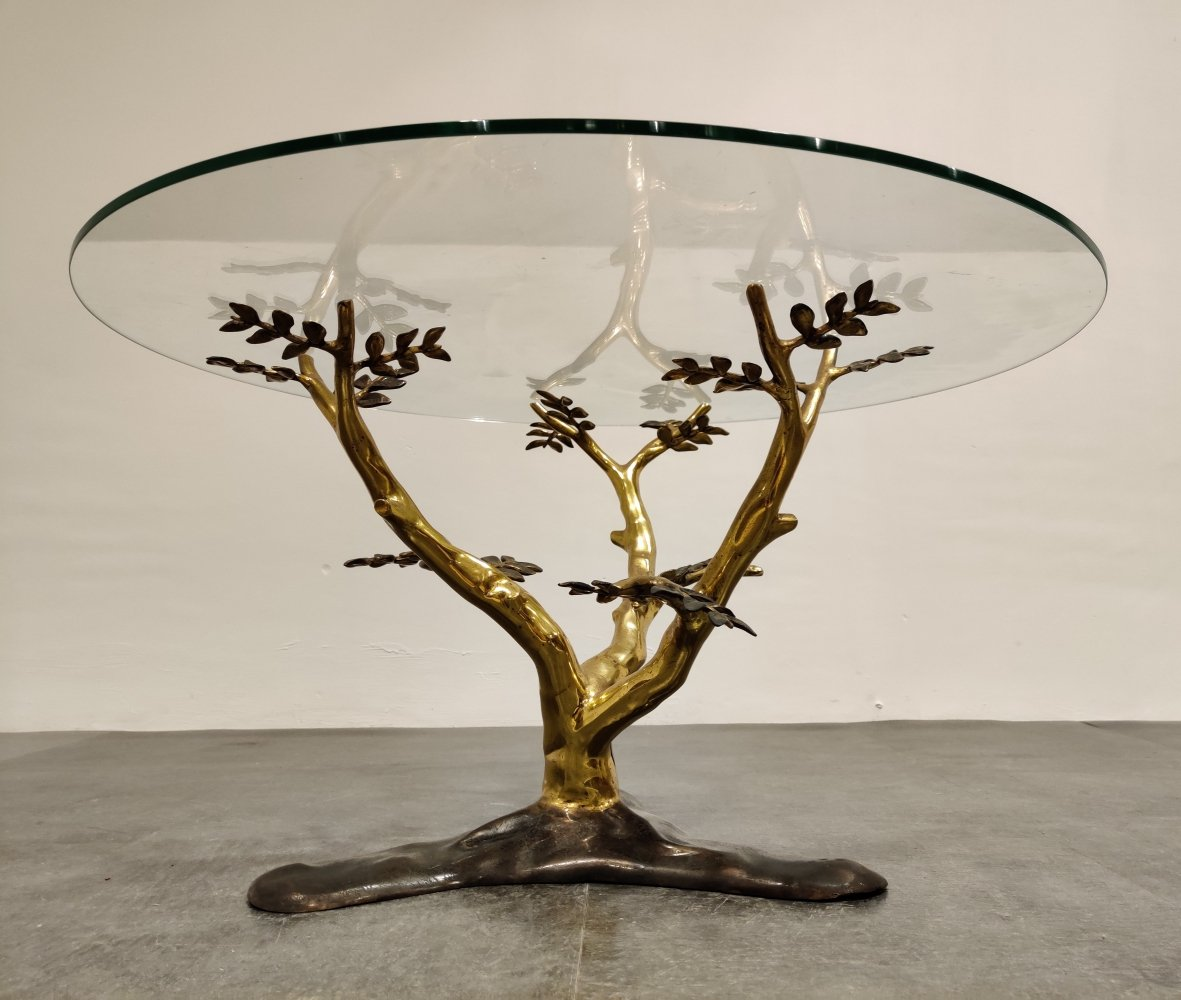 Bronze tree coffee table by Willy Daro, 1970s