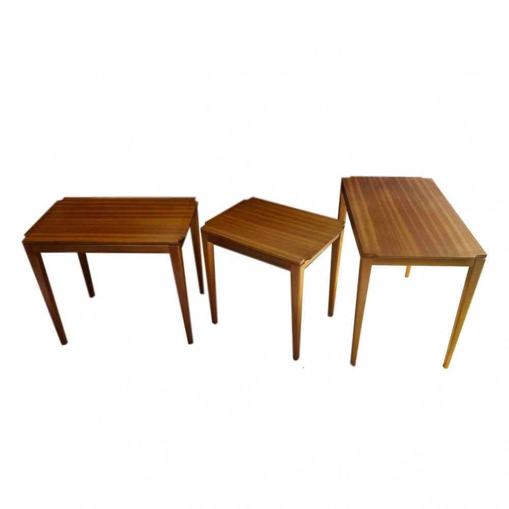 Scandinavian Exotic Wood Nesting Tables, 1960s