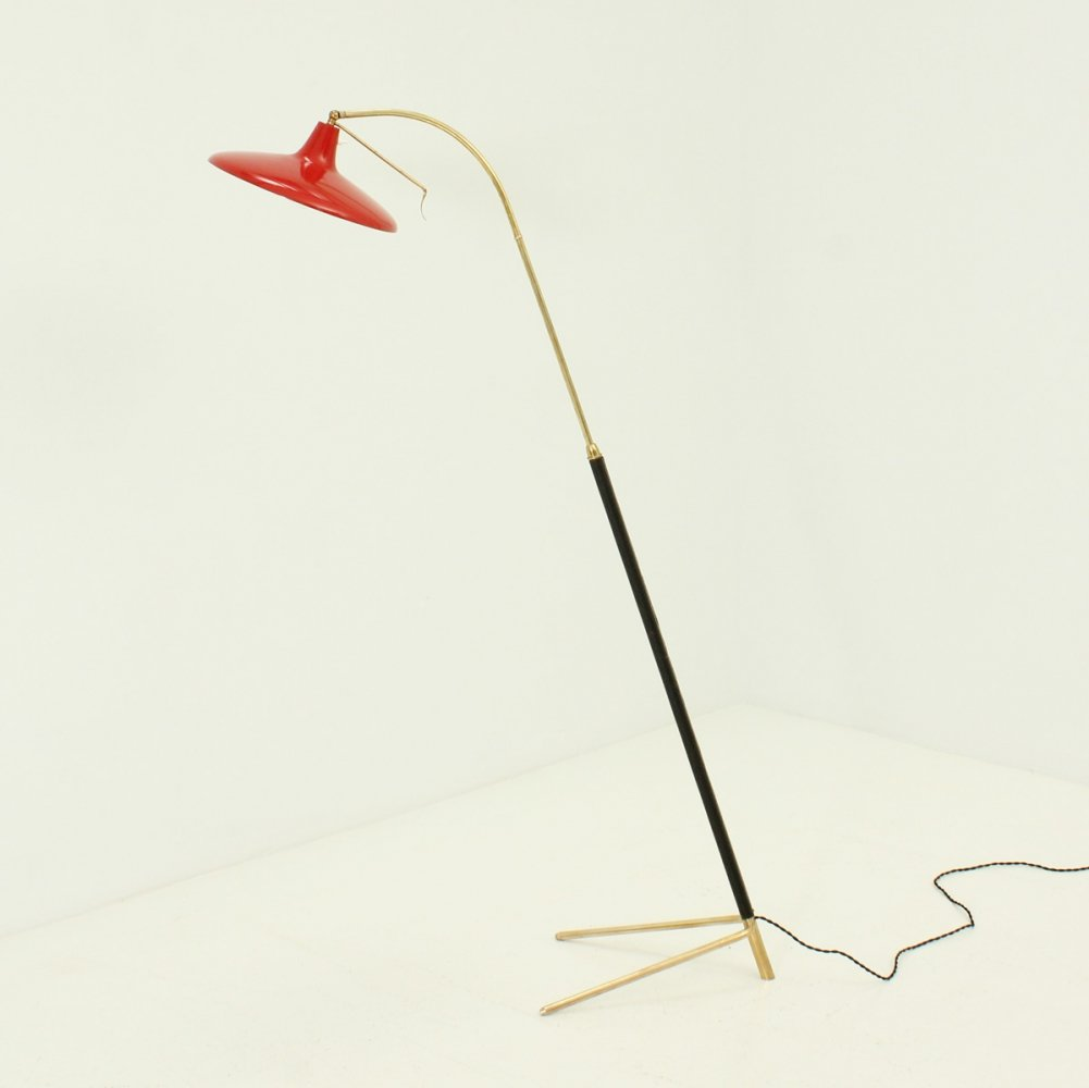 Adjustable Floor Lamp in Brass & Leather, Italy 1950