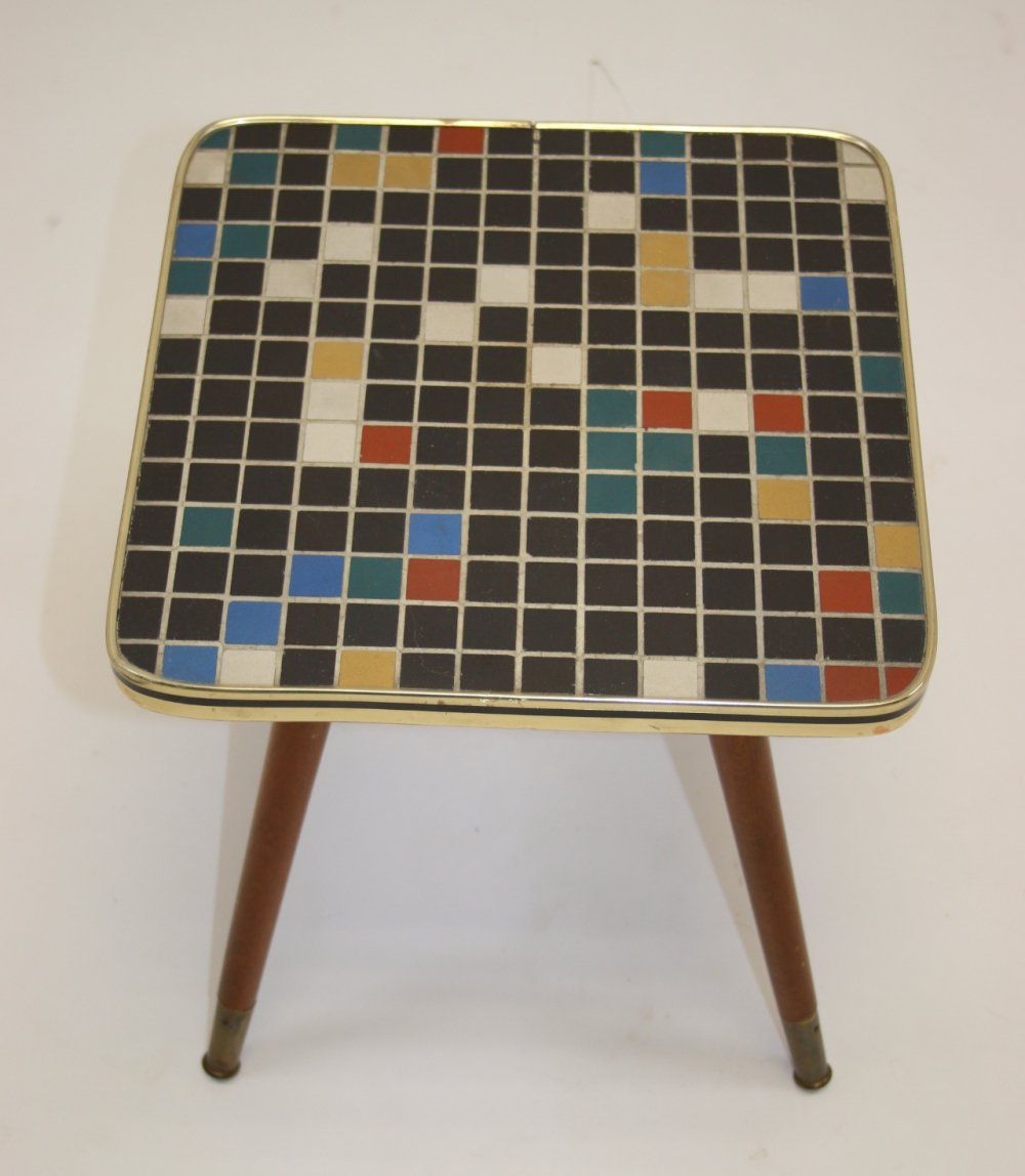 Vintage plant table with mosaic tile top, 1960s