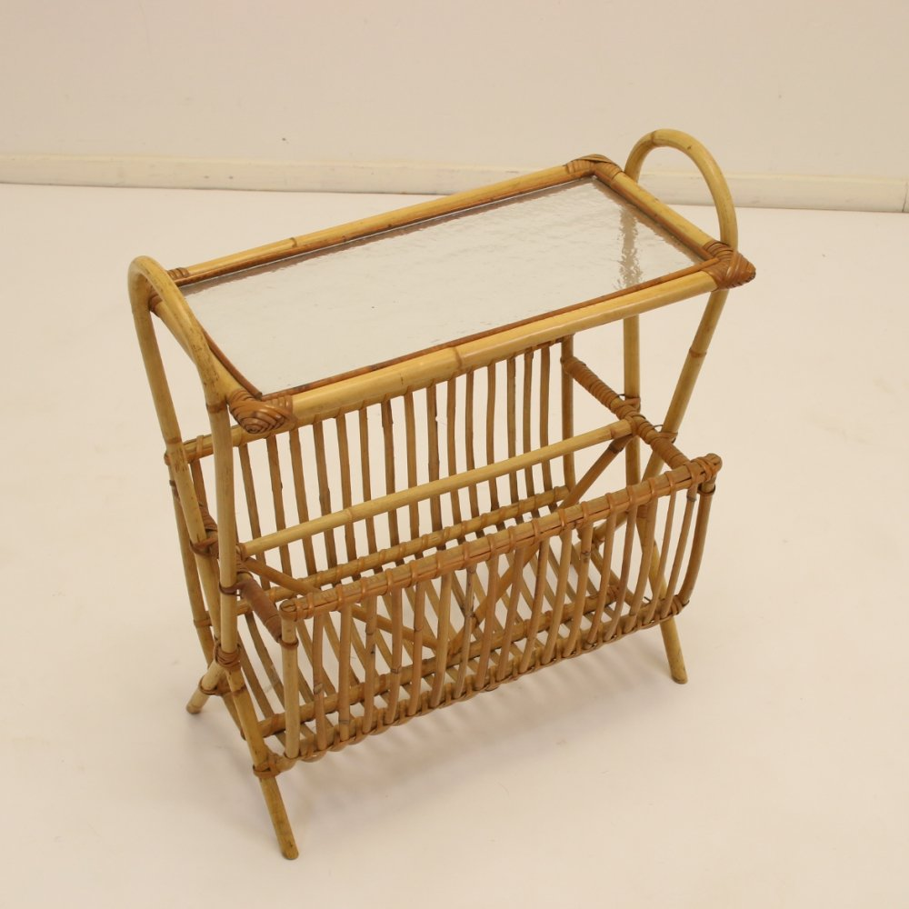 Vintage Bamboo Magazine rack with glass plate, 1950s