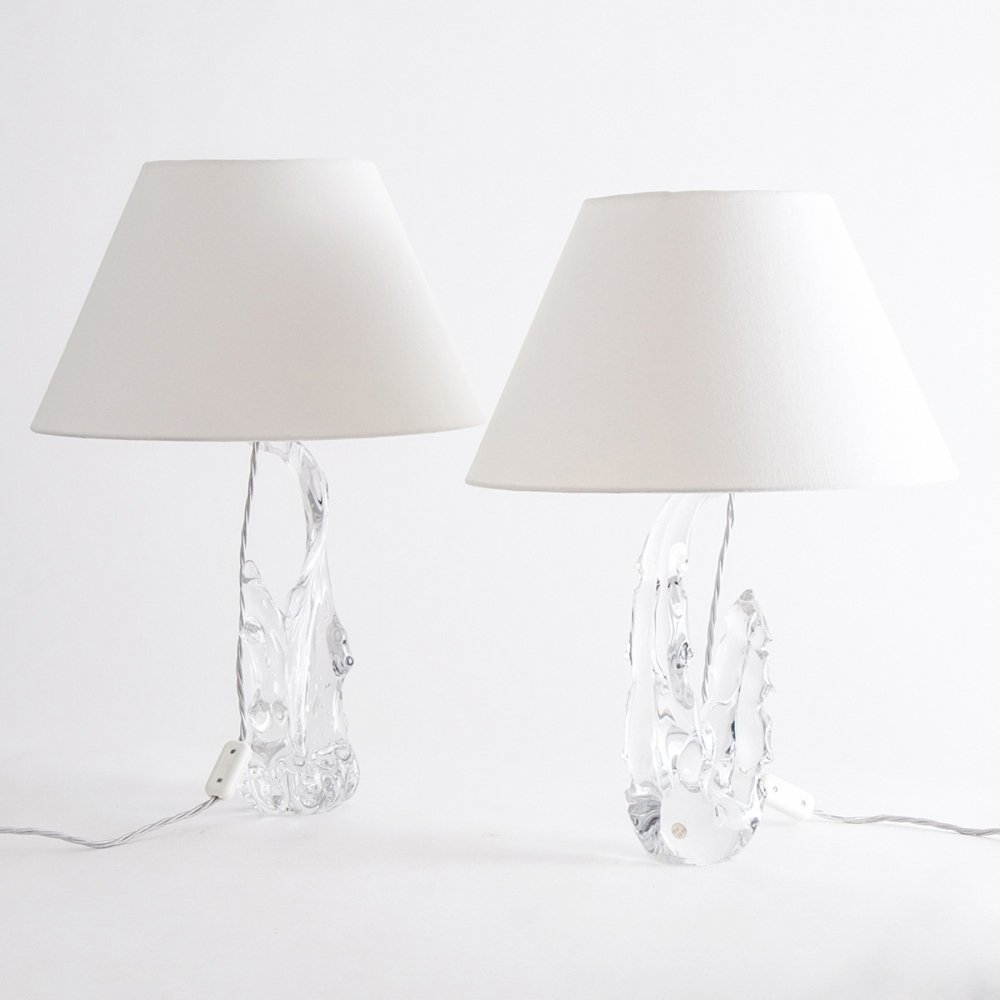Pair of French Crystal Lamps, c.1970