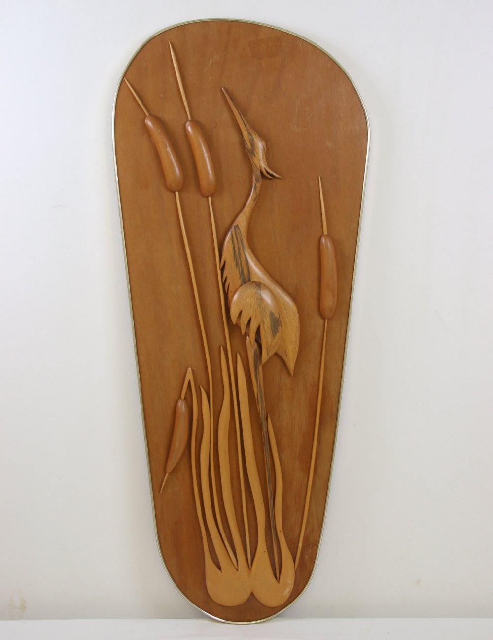 Wooden water bird in the reed Wall decoration, 1960s