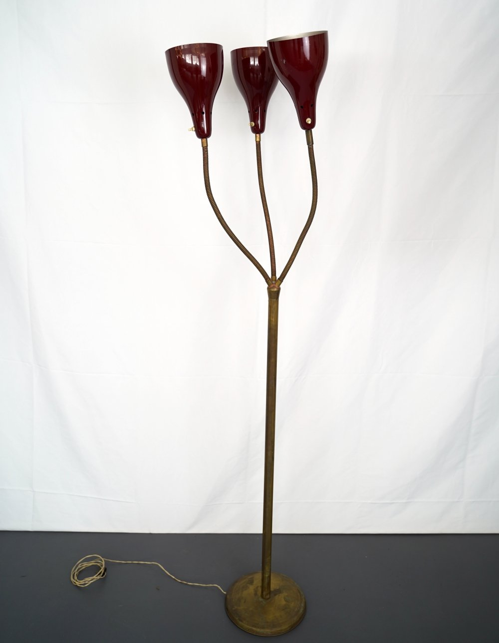 Vintage Italian brass & lacquer floor lamp with 3 flexible arms, 1950s