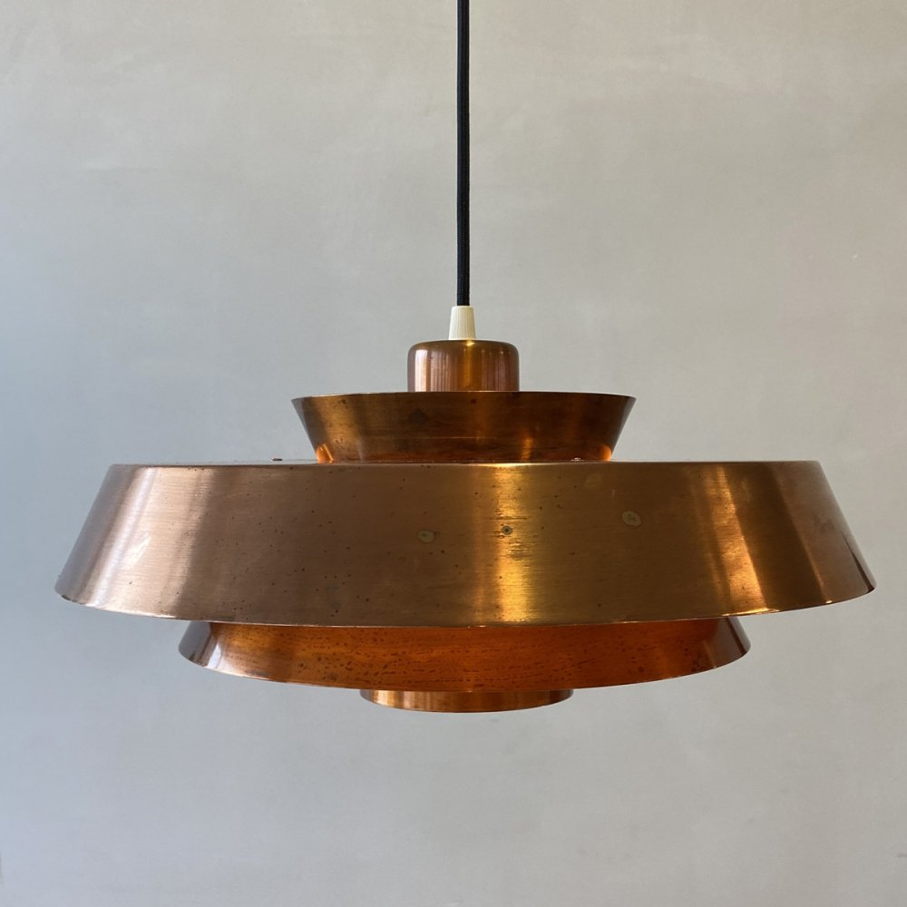 Vintage Nova pendant in copper by Jo Hammerborg for Fog & Morup, 1960