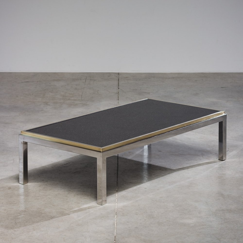 Willy Rizzo marble & brass coffee table model Flaminia, 1970s