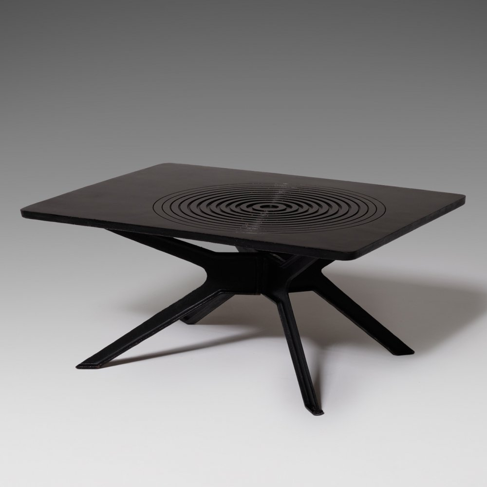 Black Cast Iron coffee table with Graphic pattern