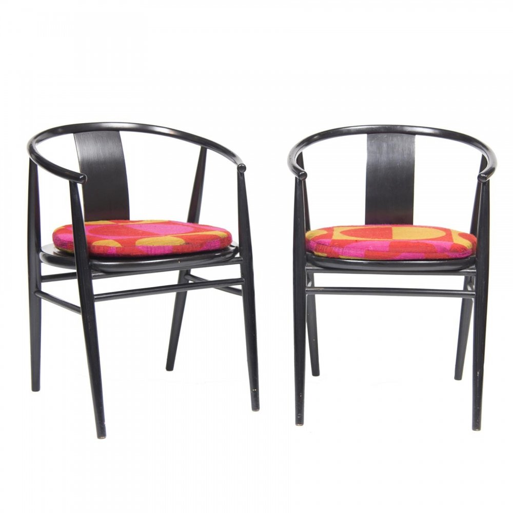 Pair of Lacquered Armchairs, Scandinavian c.1960