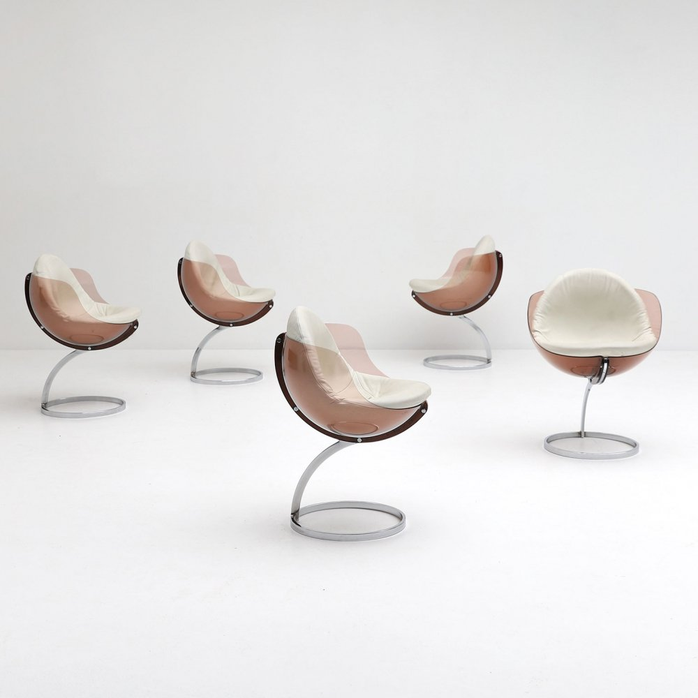 Set of five Sphere dining chairs by Boris Tabacoff for Mobilier Moderne, 1971