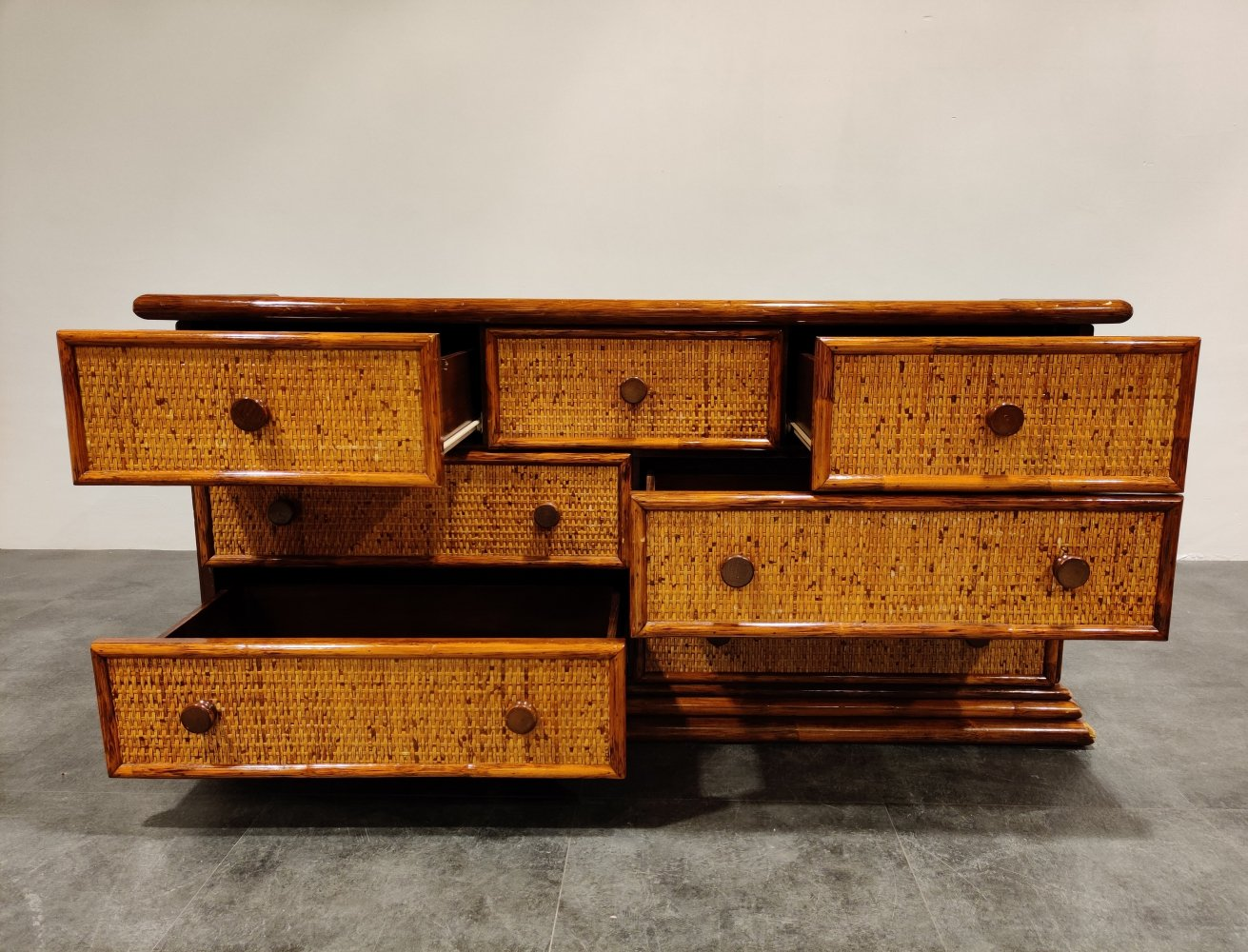 Vintage rattan chest of drawers by Maugrion, 1970s