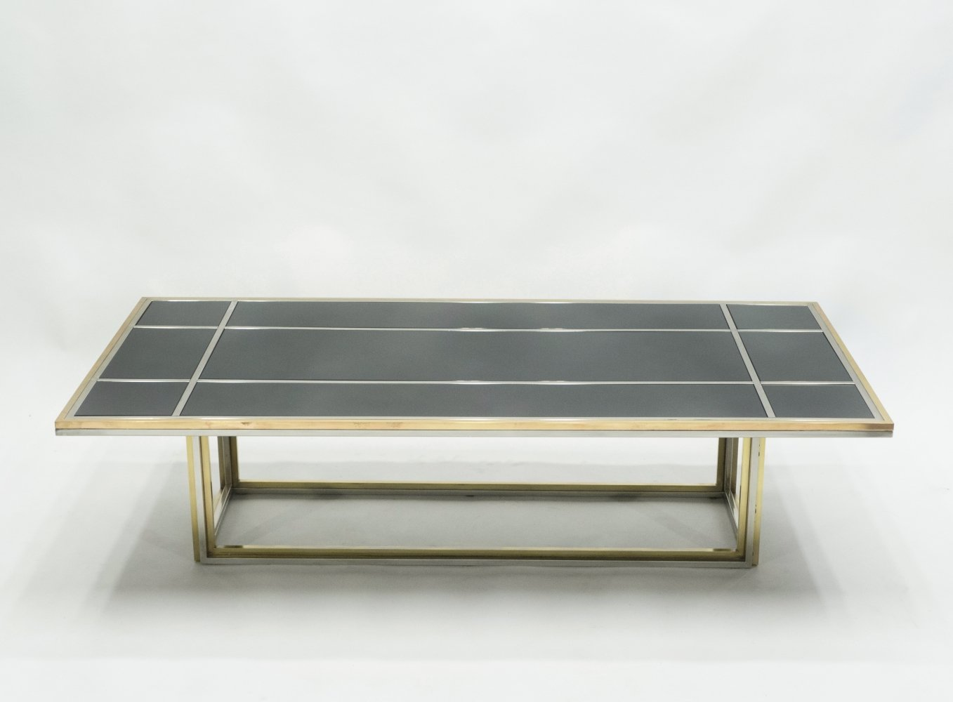 Large Mid-century Italian brass chrome coffee table by Romeo Rega, 1970s