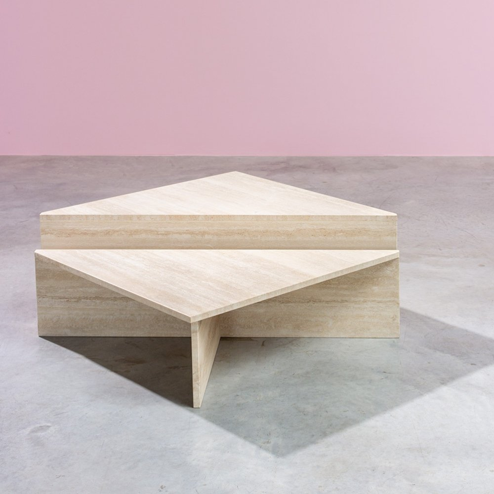 UP&UP Architectural postmodern triangular low travertine tables