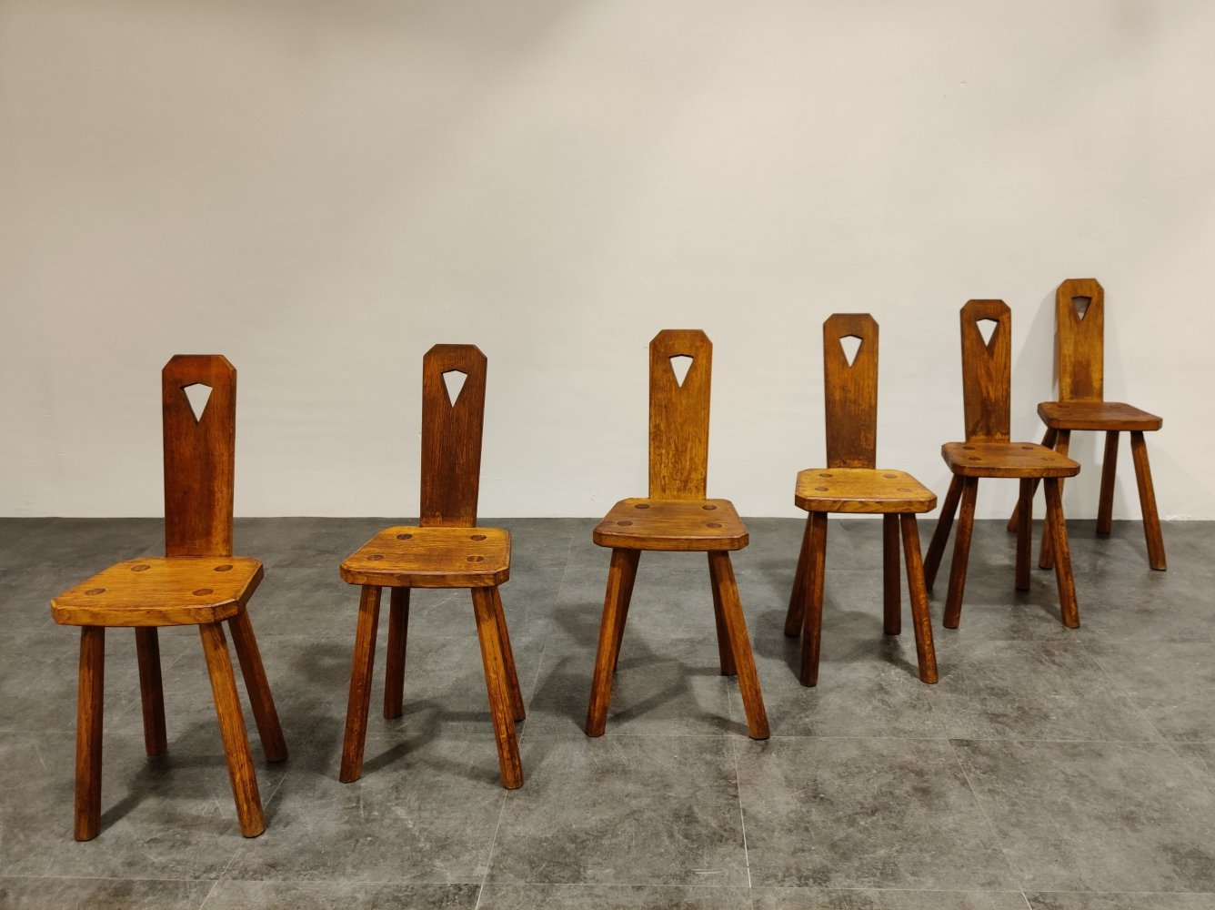 Set of 6 Mid century brutalist dining chairs, 1950s