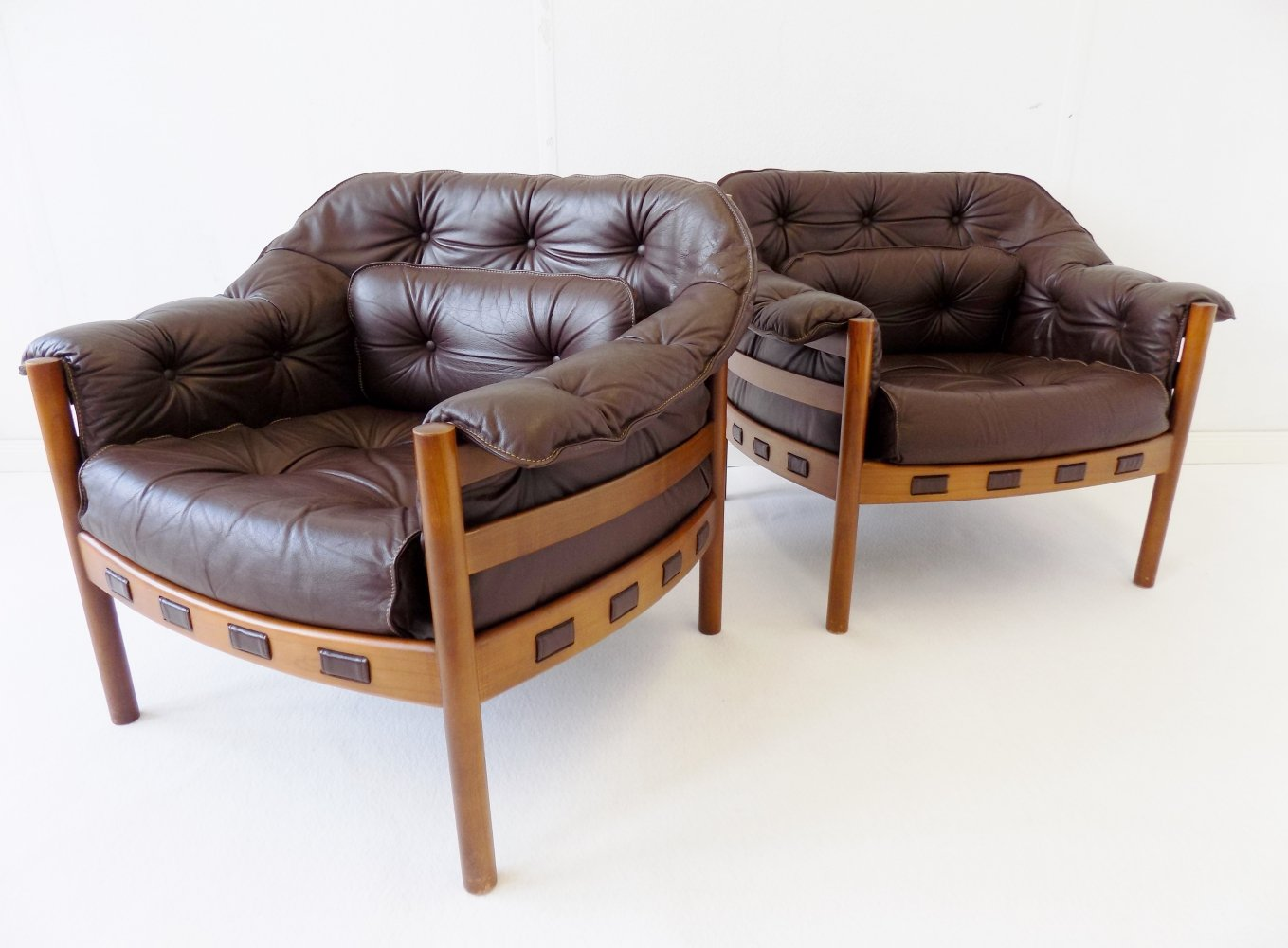 Sven Ellekaer set of 2 brown leather armchairs for Coja