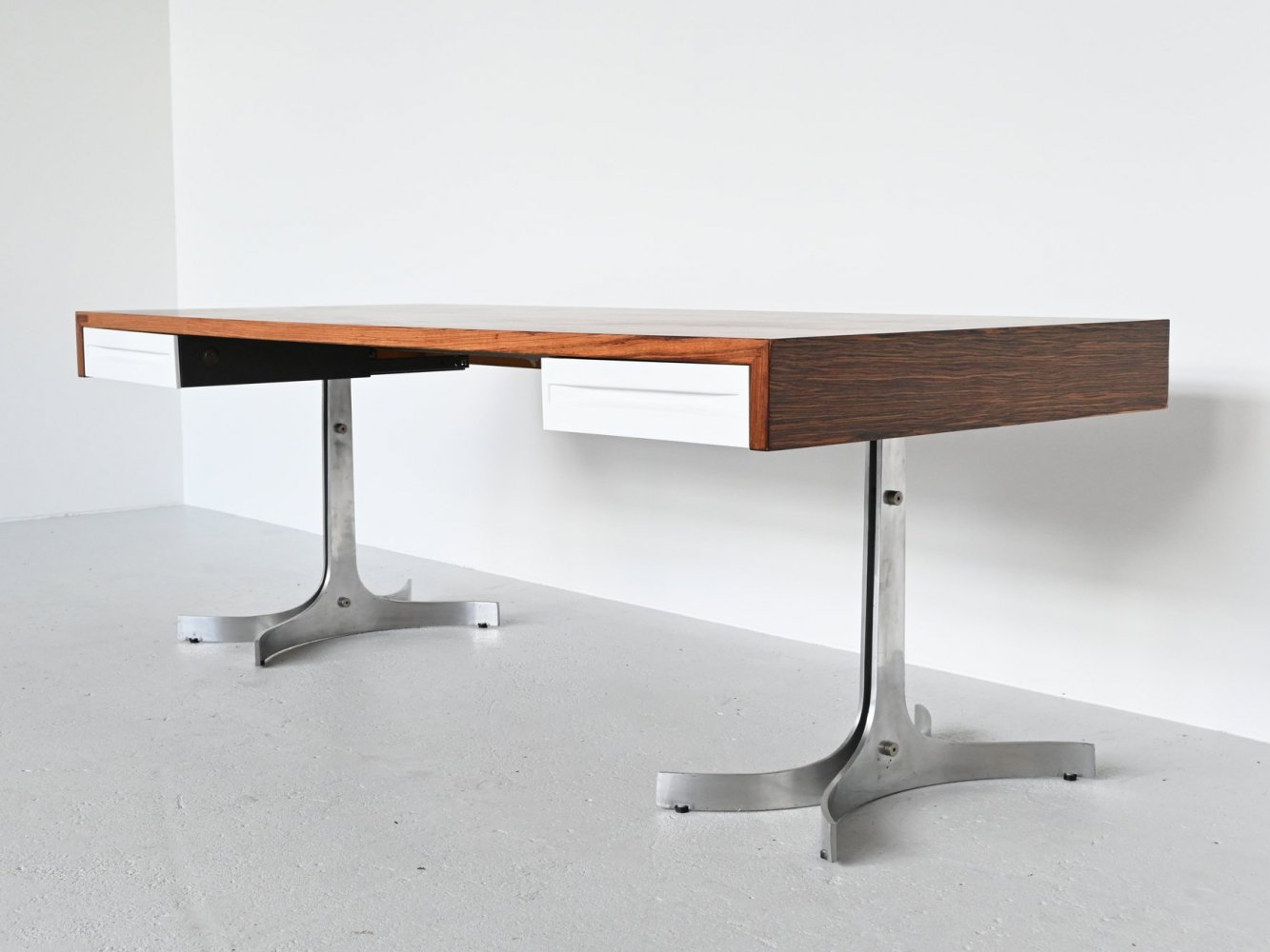 Large rosewood conference desk, Italy 1970