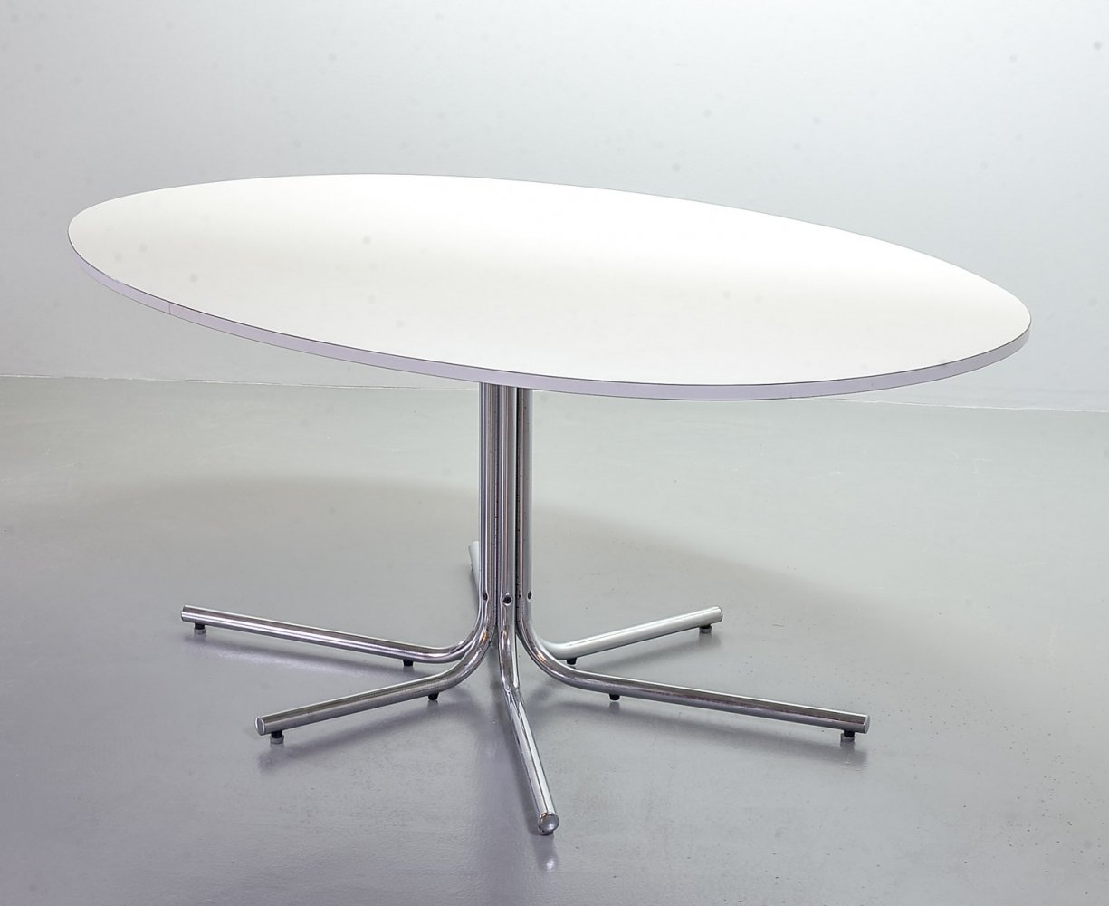 Oval Dining Table with Formica Tabletop & Chrome Steel Tubeframe Pedestal