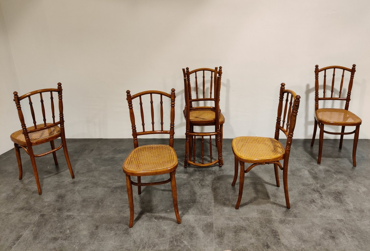 Set of 6 vintage bistro chairs, 1950s
