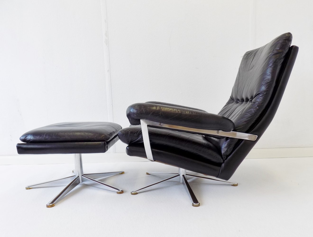 ESA black leather armchair with ottoman by Werner Langenfeld
