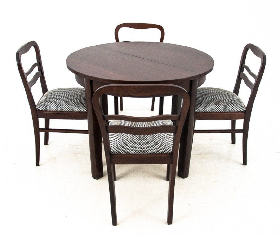 Art Deco Dining Table with four chairs, 1940s