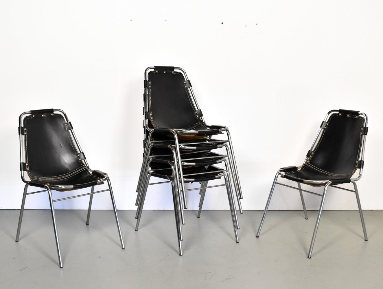 Set of 6 leather chairs selected by Charlotte Perriand for Les Arcs, 1960s