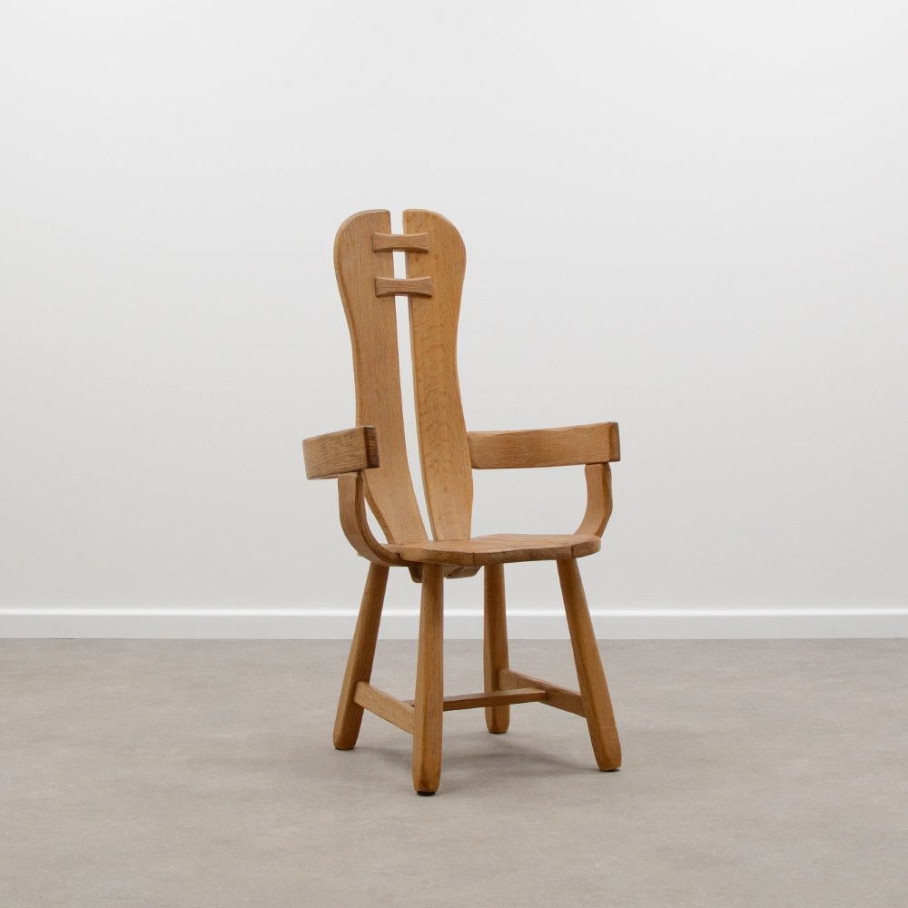 Large Oak brutalist chair from the 70