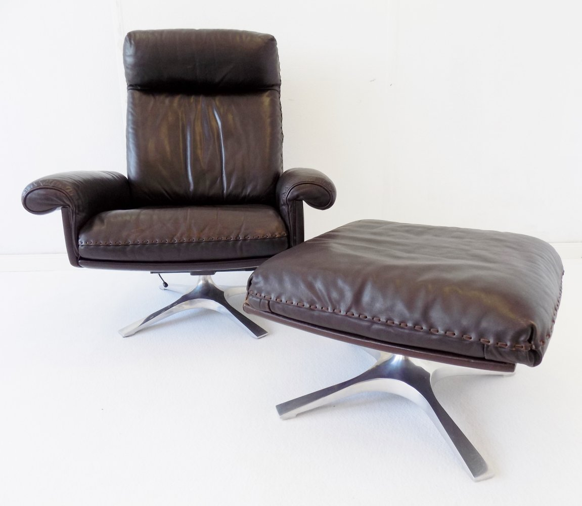 De Sede DS 31 brown leather armchair with ottoman