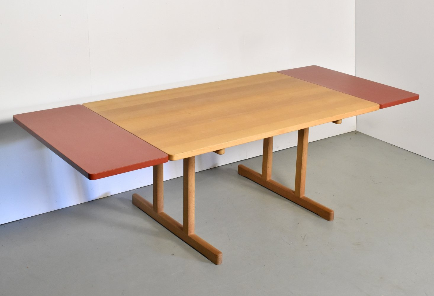 Shaker table by Børge Mogensen for Fredericia with red extension leaves, 1970s