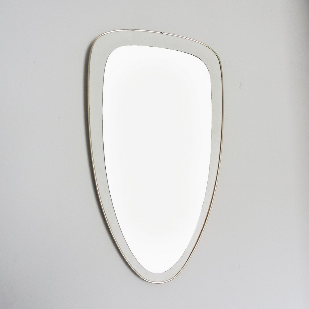 Vintage White Shield Wall Mirror, 1970s