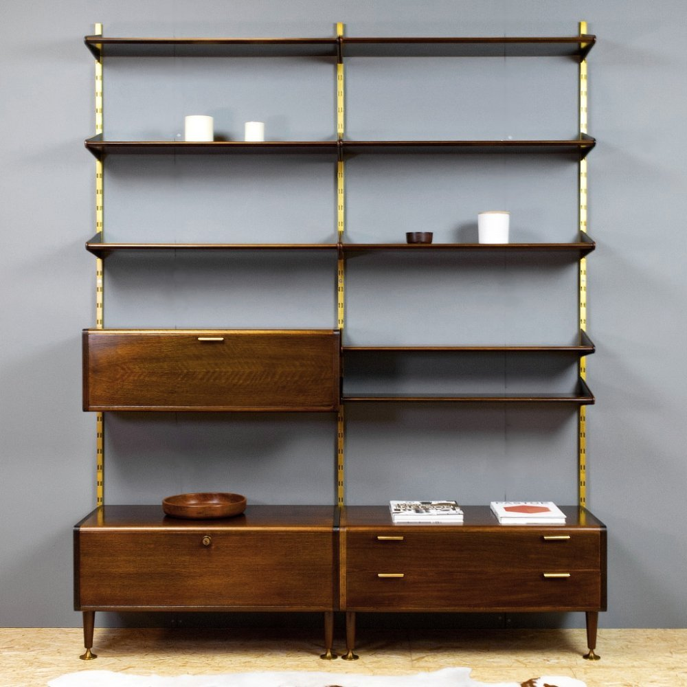 Ash & Brass Poly Z Modular Wall Unit by A.Patijn for Zijlstra, Dutch 1950s