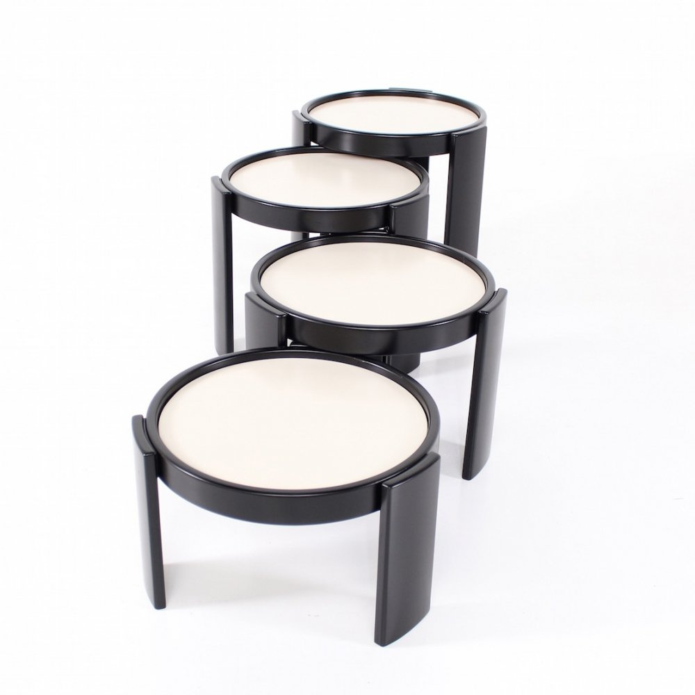 Black & white beech & laminate nesting coffee tables by Gianfranco Frattini for Cassina, 1960