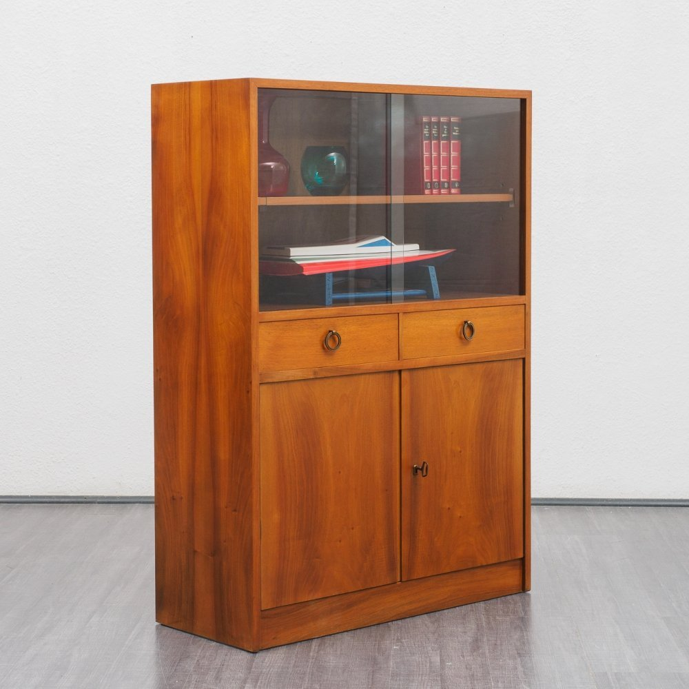 Vintage 1950s walnut cabinet with glass display