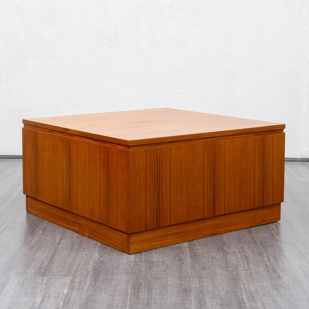 Cubical 1960s teak coffee table with inner storage | #135545