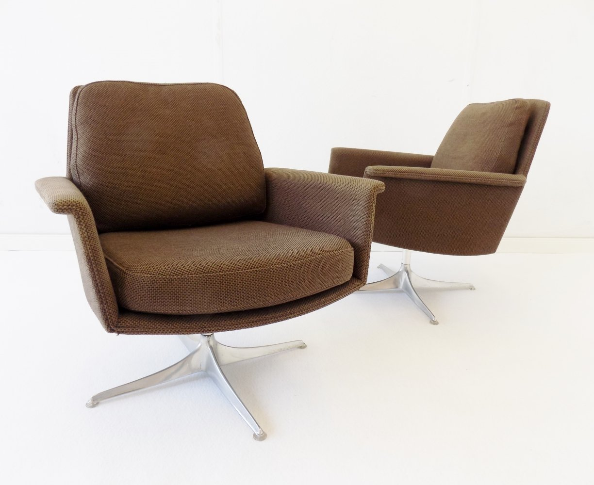 Cor Sedia set of 2 brown lounge chairs by Horst Brüning, 1960s