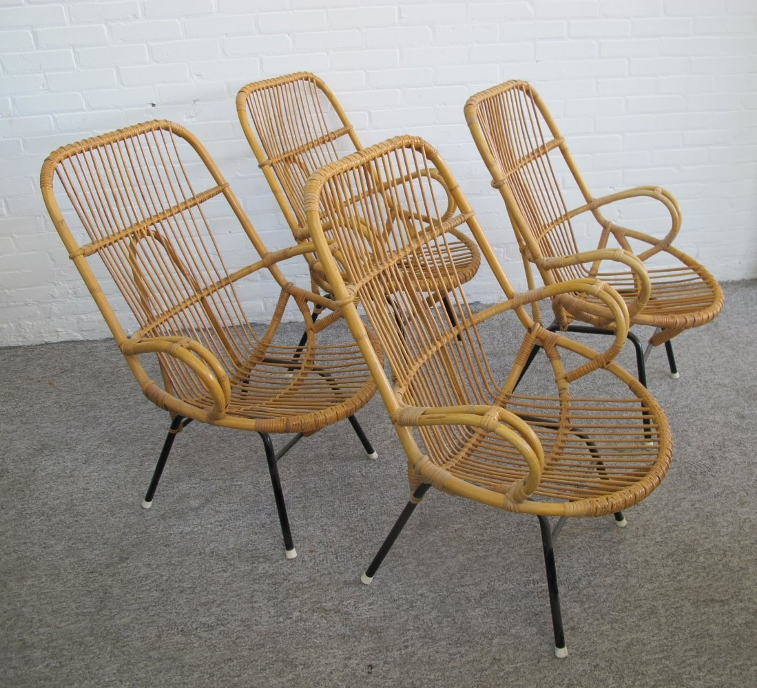 Set of four rattan armchairs by Rohé Noordwolde, 1960s