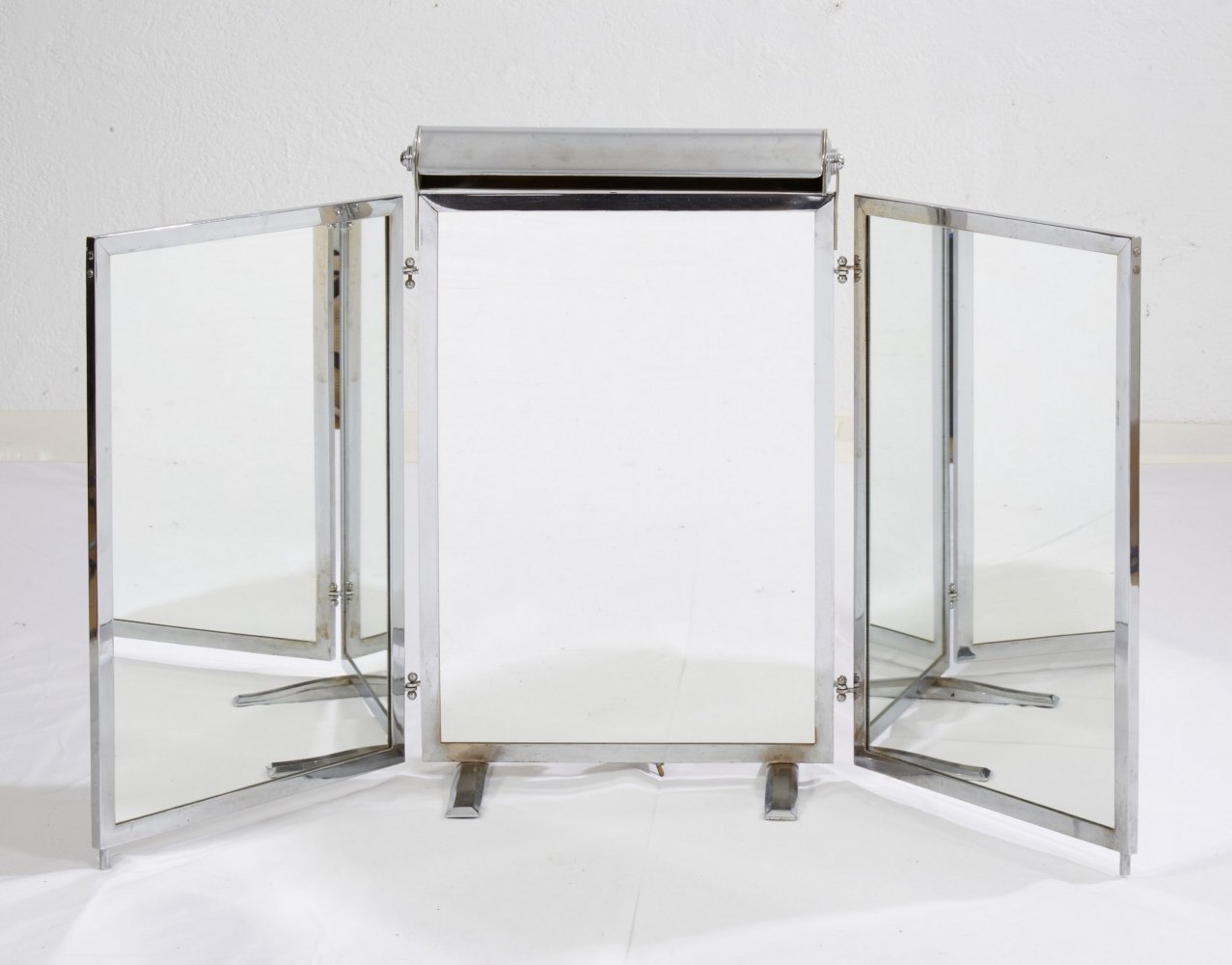 Modernist Mirror Triptype with integrated lamp, 1930s