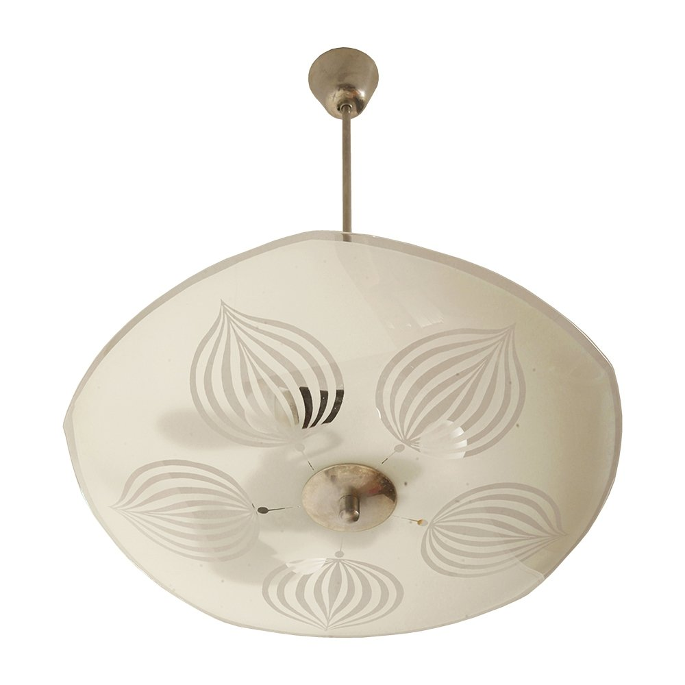 White with transparent leaves Glass Ceiling Lamp by Napako, Czechoslovakia 1960s