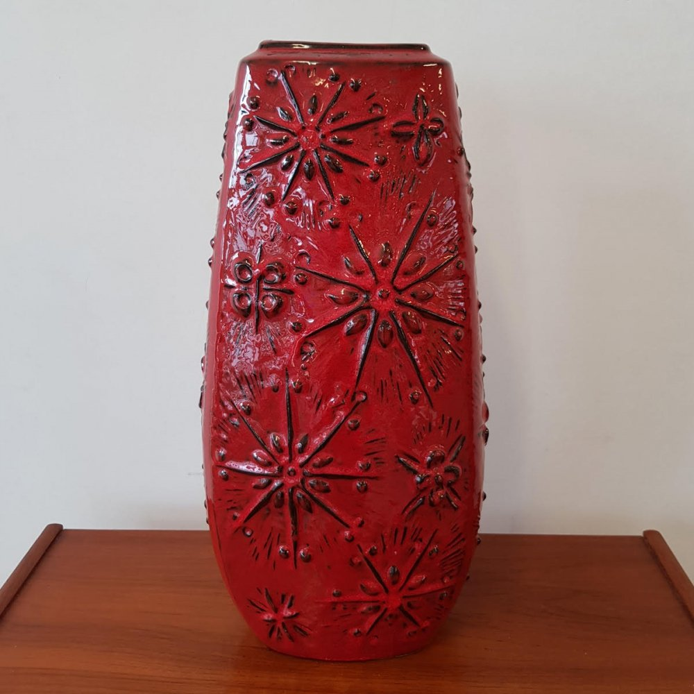 Red West Germany vase, 1970s