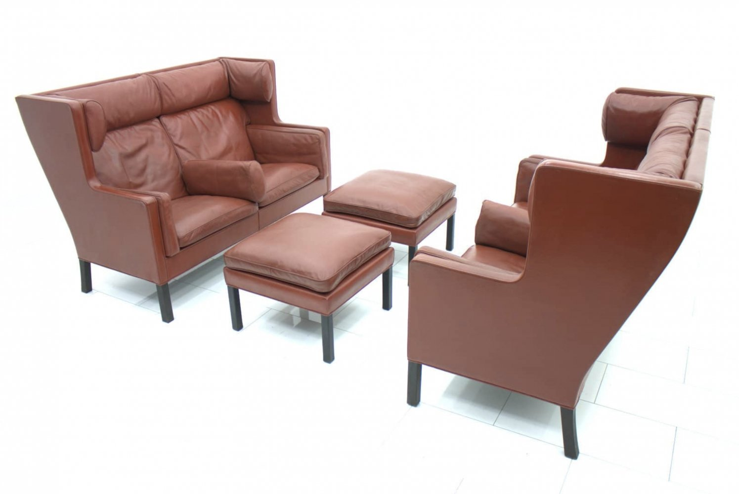Pair of Børge Mogensen Coupe 2192 Leather Sofas by Frederica, Denmark 1971
