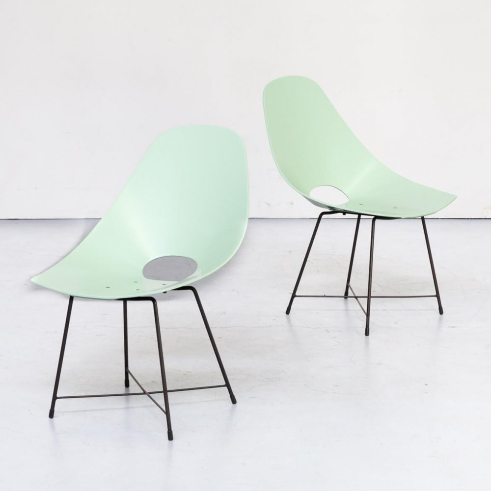 Pair of Augusto Bozzi chairs for Saporiti, 1950s