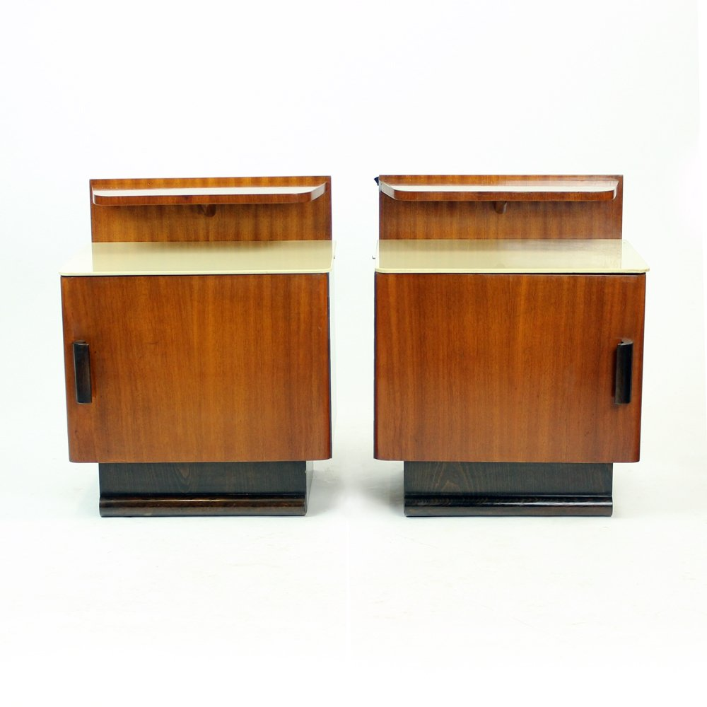 Pair of Bedside Tables by Jindrich Halabala for Up Zavody, Czechoslovakia Circa 1930s
