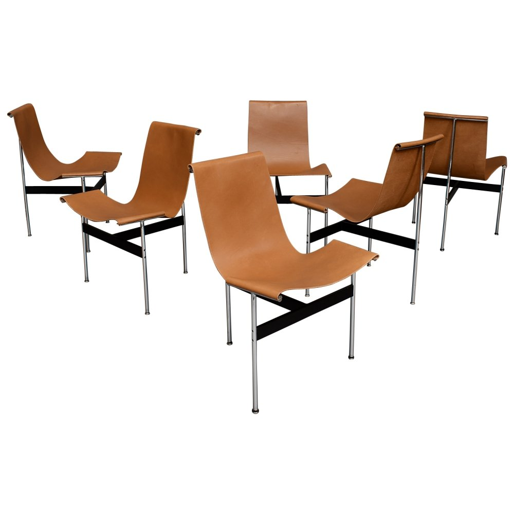 Set of 6 t-chairs in tan saddle leather & chrome by William Katavolos & Ross Littell, USA 1952