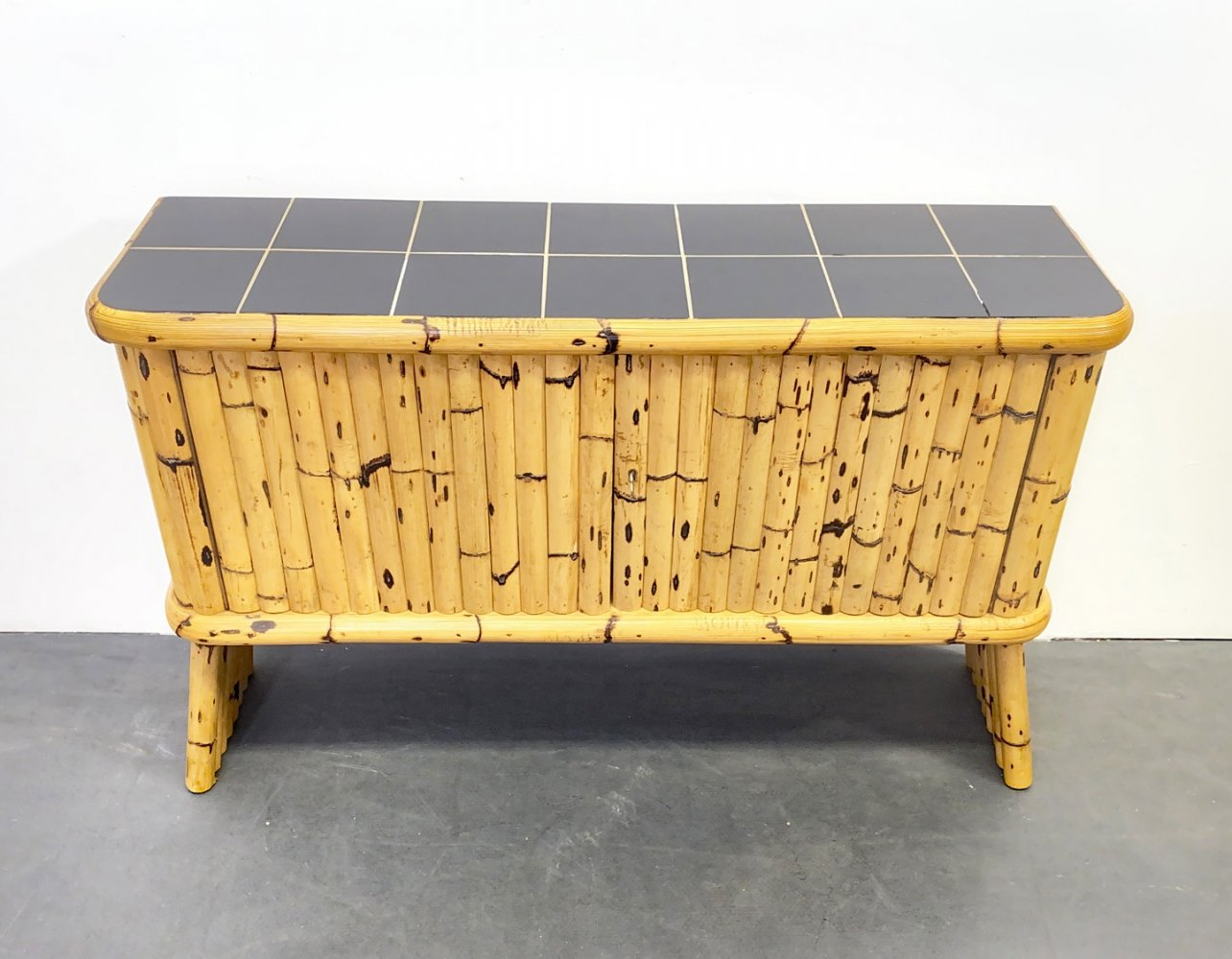 Mid Century Bamboo Sideboard with Black Ceramic Tiles, France 1950s