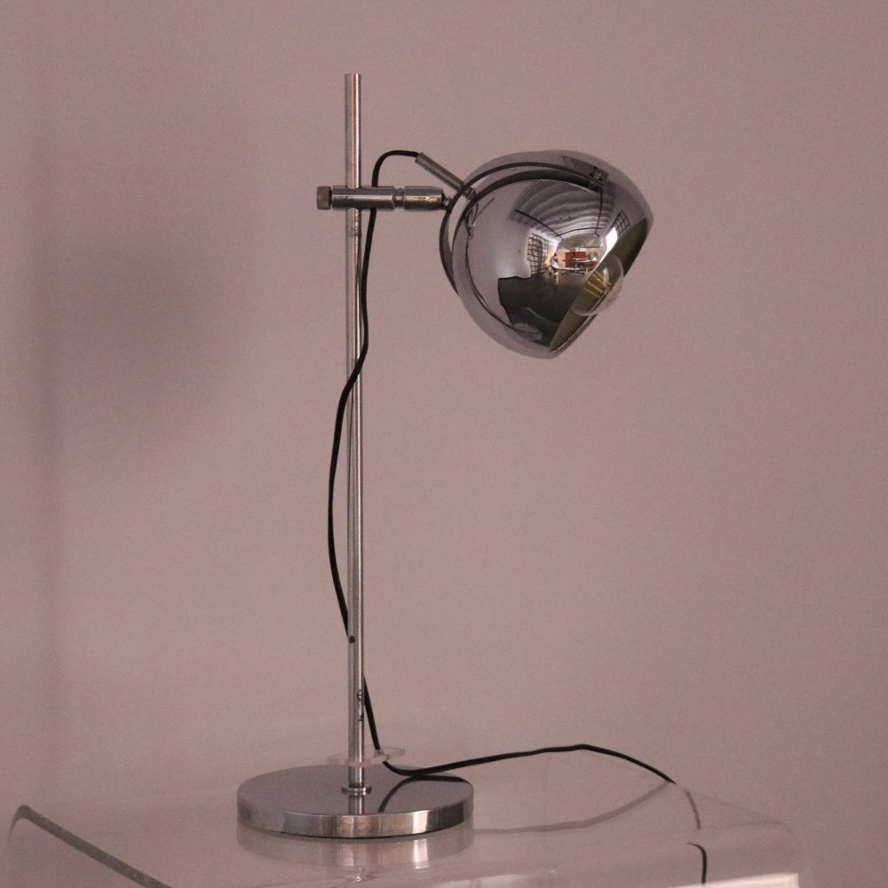 Height adjustable Desk lamp in chrome plated steel, 1960
