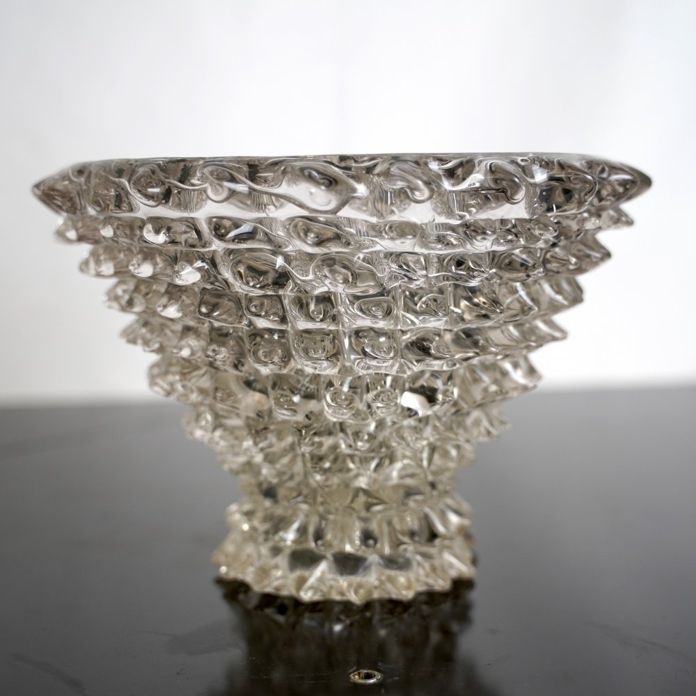 Large Rare Vintage Rostrato glass vase or centerpiece by Ercole Barovier, 1930s