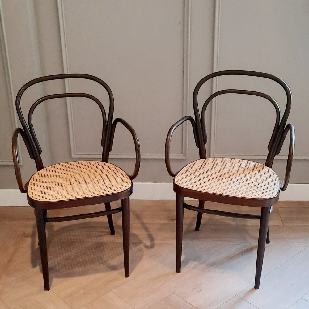 Set of 2 No. 214 F Chairs by Michael Thonet for Thonet, 1977