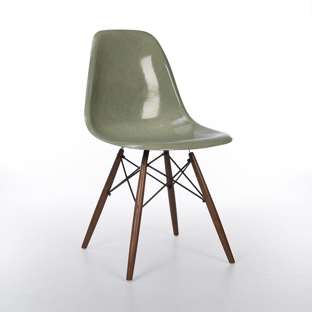 Seafoam Herman Miller Original Vintage Eames DSW Dining Side Chair